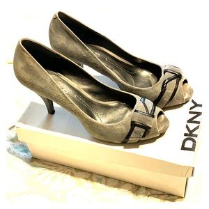 DKNY Alicia Heather Grey Suede Peep toe Pumps